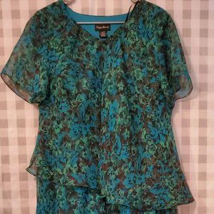 Maggie Barnes Size 18W Turquoise & Pattern Dress